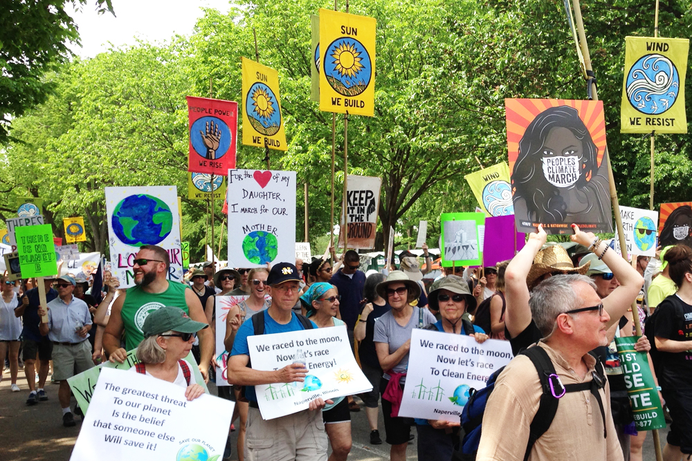 Crowd marching at climate march