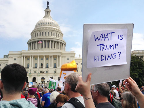 poster, what is trum hiding, tax-march-