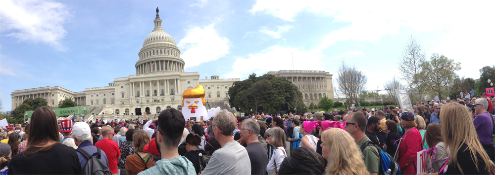 panoramic shot of capitol, tax-march